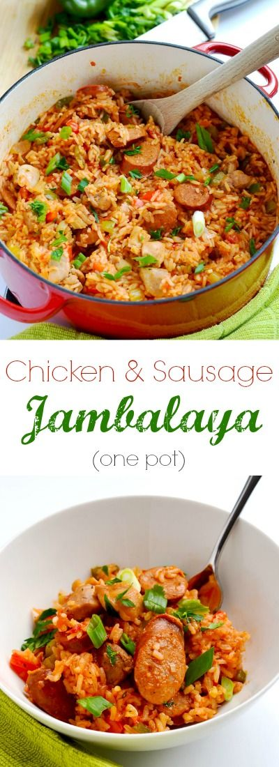 This chicken and sausage jambalaya is a delicious one pot meal that is perfect for Mardi Gras, or any time of year!   APinchOfHealthy.com