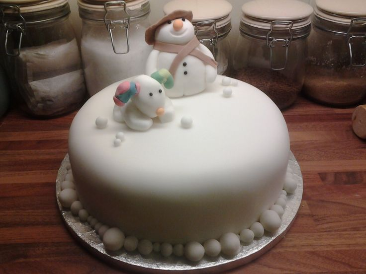 Christmas Cake Decoration Snowman : Was requested to make a Snowman & Snowdog cake xx ...