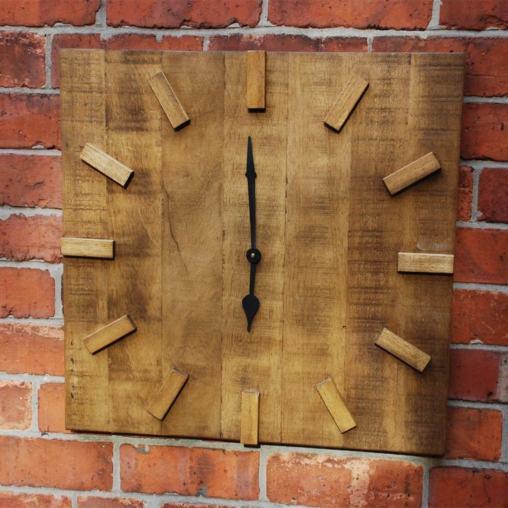 square wood clock | ... Home Accessories to Buy Online › Clocks › Square Rugged Clock