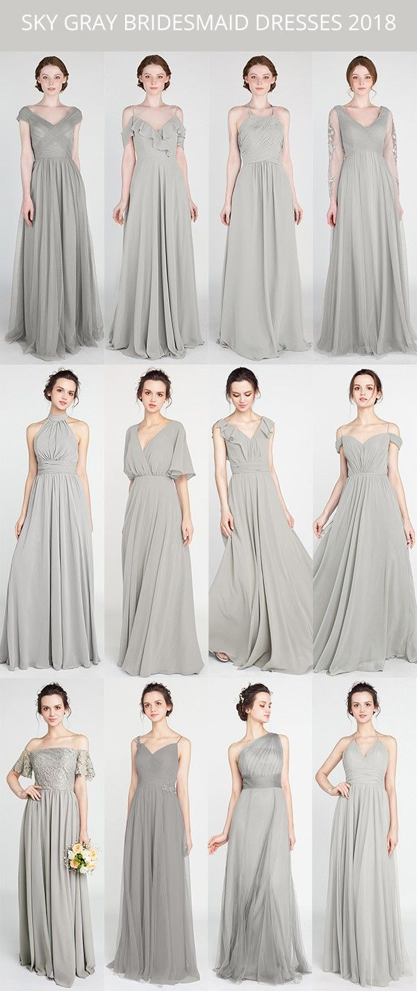 sky gray bridesmaid dresses for 8 #bridalparty #bridesmaiddress