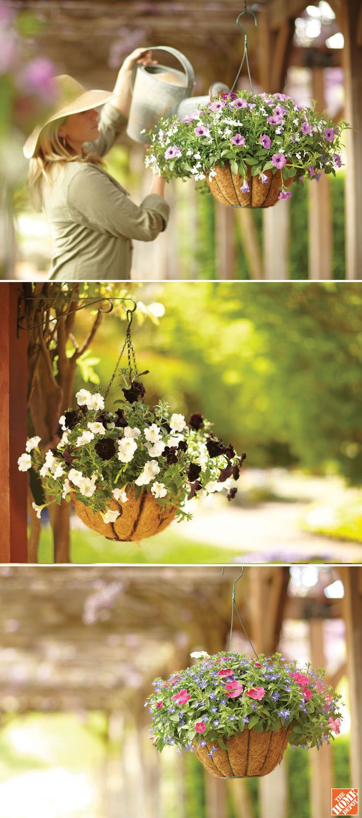 Mother's Day gift idea: Plant her favorite flowers in a coco-lined hanging basket. She'll be thrilled. Check out 9 more last minute Mother's Day gift ideas at The Home Depot's Garden Club.
