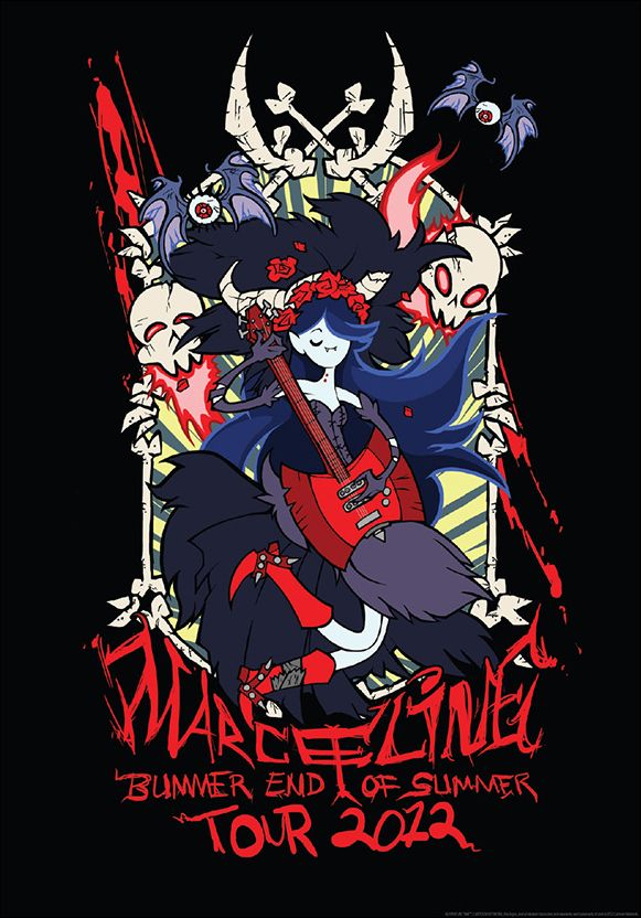 Marceline Tour Print  Did you all buy a copy of Karen Hallion's Bubblegum Nouveau print from Mighty Fine yesterday? Well, time to dig in your wallets once again and spring for this Marceline print by artist Penelope Barbalios. Rick Griffin and Stanley Mouse would be proud.  Thanks, Penelope.  (Also available in T-shirt form for ladies and gents.)