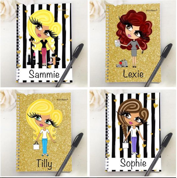 Gorgeous HunniBunni Notebooks and Diaries. Now available with black and white stripe and gold glitter backgrounds. Diaries can have a January 2016, September 2016 or January 2017 start date. ❤www.hunnibunniboutique.co.uk