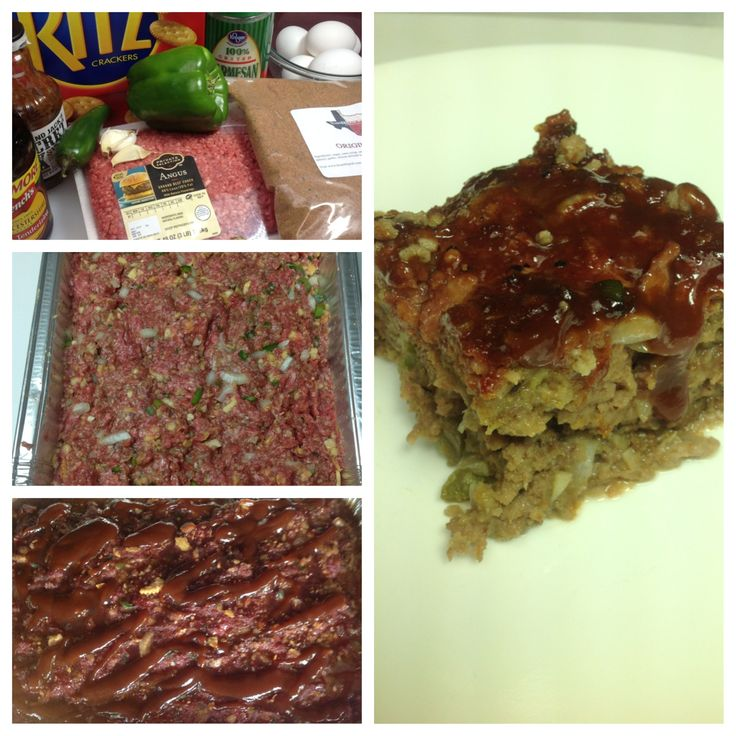 Texas BBQ Rub Smoked Meat Loaf 3 lbs ground beef, 1/2 medium onion, 1/2 medium bell pepper,1 small jalapeño, 6 eggs,  1 1/2 stacks Ritz crackers, 1/2 cup grated Parmesan cheese, 1/3 cup Texas BBQ Rub, 1/4 cup Worcestershire sauce, 1/2 cup of your favorite BBQ Sauce, 1 large foil loaf pan or pan approx. 10x5x4  In large bowl mix all ingredients.  Cook uncovered  2 1/2 to 3 hours at 225 degrees.  Remove and pour BBQ sauce on top of meatloaf and return to pit for 15-20 minutes.  Internal temp…