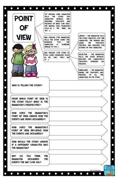 Free Printable Point of View Anchor Chart