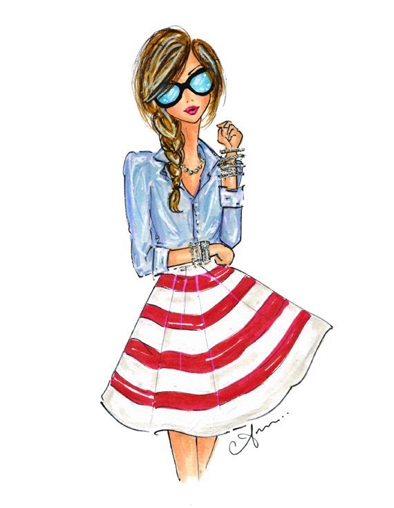 nice Red, White, and Blue (illustrations by anum) by http://www.redfashiontrends.us/fashion-sketches/red-white-and-blue-illustrations-by-anum/