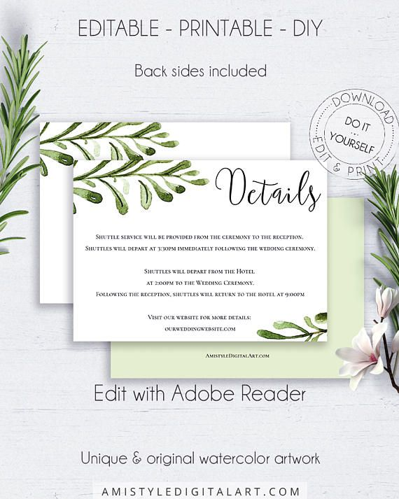 Editable PDF Wedding Info Card, with simple but nice watercolor branches for the lovers of the rustic and minimalist styleThis greenery wedding details card template is an instant download EDITABLE PDF pack so you can download it right away, DIY edit and print it at home or at your local copy shop by Amistyle Digital Art on Etsy