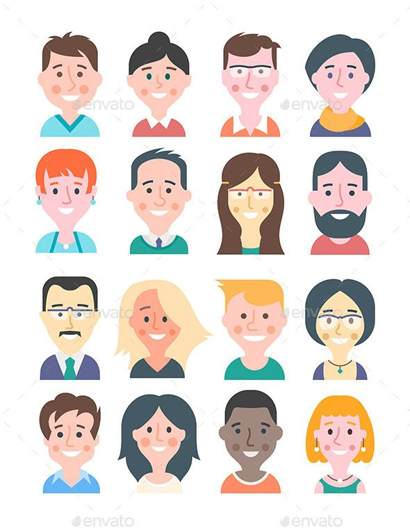 Cartoon People Avatars (JPG Image, Vector EPS, CS, avatar, cartoon, character, comic, emotion, facial expression, flat design, funny, geek, glasses, hairstyle, happy, hipster, human head, icon, illustration, individuality, man, nerd, occupation, people, person, portrait, smile, style, trendy, user, vector, woman, young)