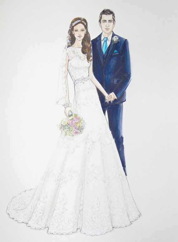 Bride and Groom  Custom Wedding Dress Sketch  by ForeverYourDress