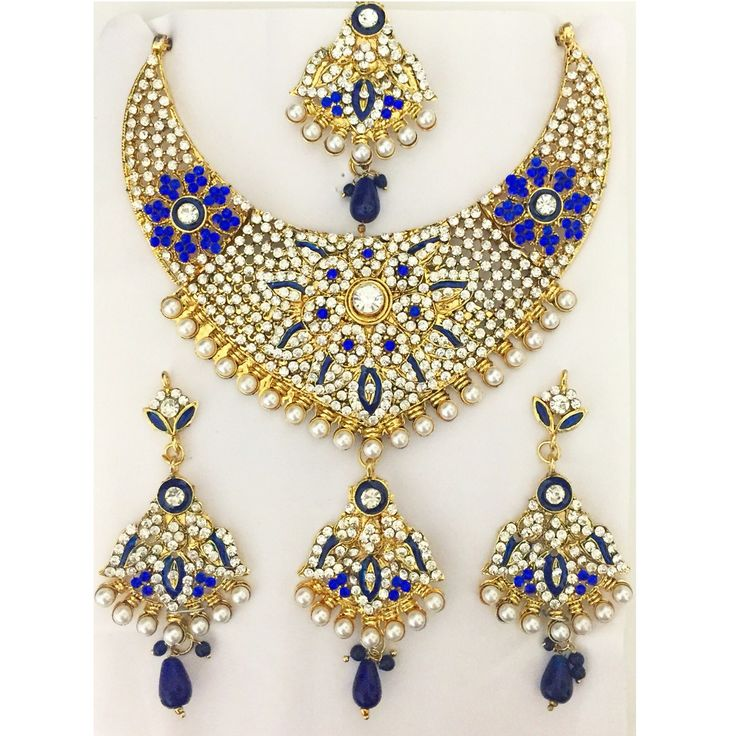 Blue Bollywood Indian Jewelry Set
