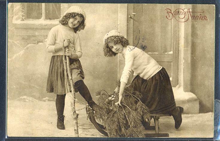 QF062 GRETE REINWALD COUPLE De FILLETTES EDWARDIAN GIRLS SAPIN LUGE PHOTO d'ART | eBay