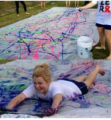 Paint Slip n Slide •use washable/non-toxic paint so it doesn't kill the grass •use an old sheet or plastic sheet •add a SMALL amount of water so you are able to slide