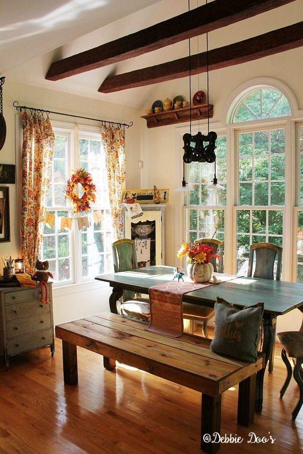 country rustic fall decorating with florals and texture - Fall Kitchen Decorating Ideas