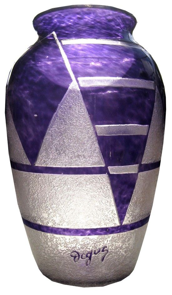 Large French Art Deco DEGUE Violet Cameo Glass Vase by Cazaux