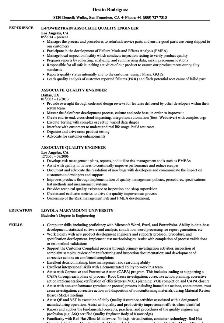 Quality Engineer Resume Sample in 2020 Project manager