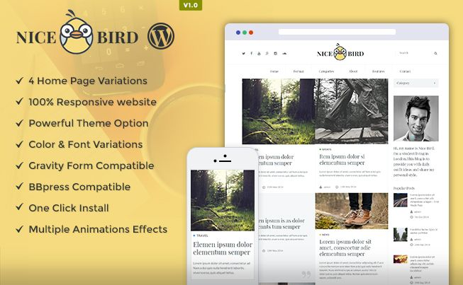 NiceBird #WordPress #Premium  #Theme is a responsive WP theme, used for blog/ newspaper/ magazine available on theem'on at best prices.
