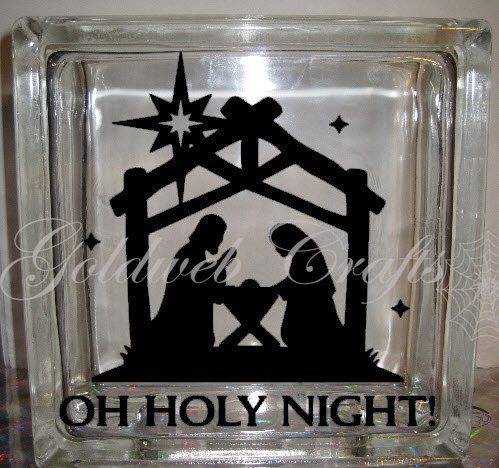 Christmas Vinyl Decals For Glass Blocks.Joy To The World Glass Block Decal Tile Mirrors Diy Decal
