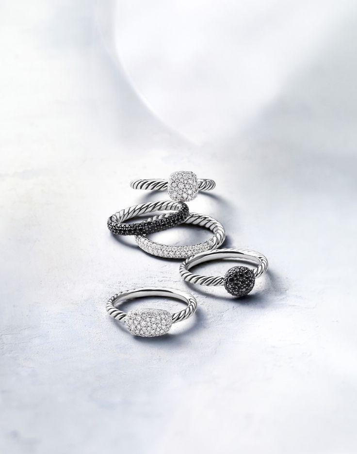 Petite Pavé rings with black or white diamonds.