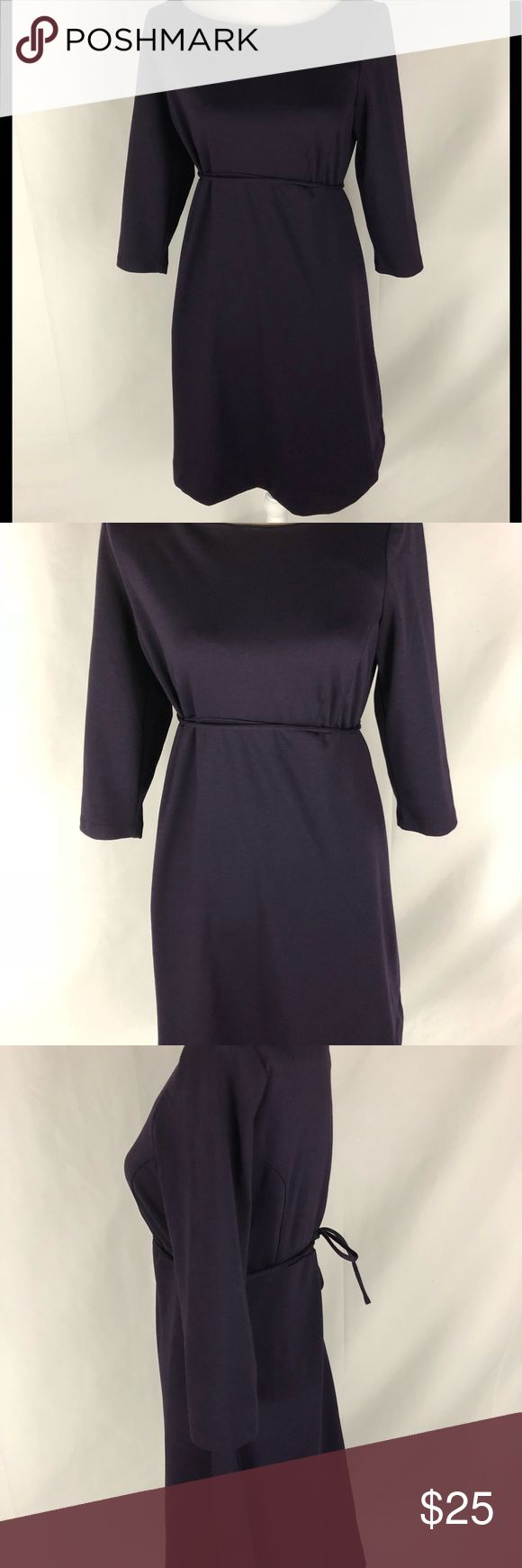 Maternity medium 3/4 Sleeve purple dress Women's maternity dress from motherhood. Deep purple in color with 3/4 length sleeves. Had a purple string that ties in from or back. Long silver zip up in back from dress.  EUC  Machine wash lay flat to try   69% Polyester. 22% Rayon. 9% Spandex Motherhood Dresses Long Sleeve