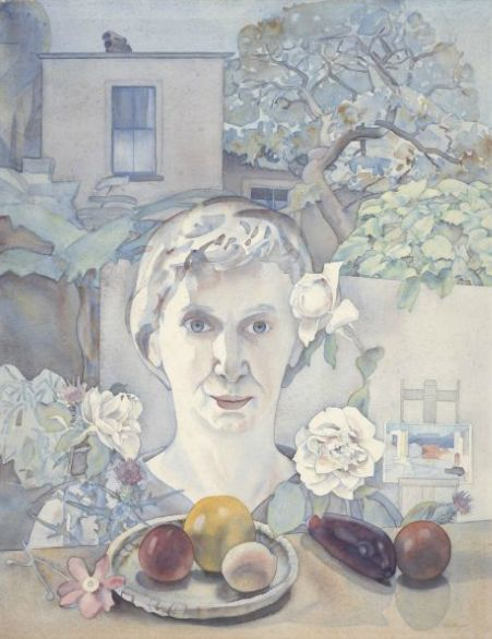 Self Portrait with Fruit by Rita Angus NZ Artist. The link for this has an audio explanation of  the artwork.