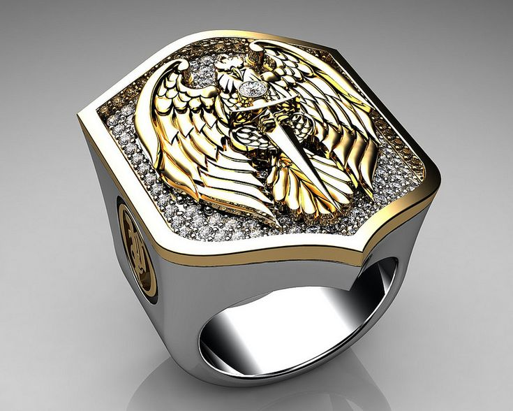 Mens Ring Eagle Shield Ring Sterling Silver and Gold with White Diamonds $10,364.00