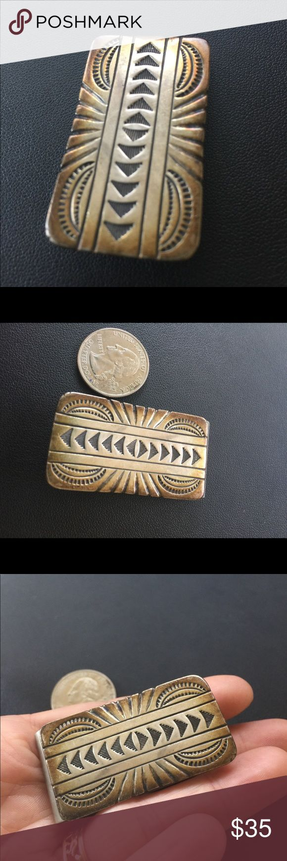 Southwest Mix Metal Etched Silver Money Clip Not sterling, but came from estate of big southwest and Native American art collector.  Very cool, would make a great gift for any vintage lover. Accessories Money Clips