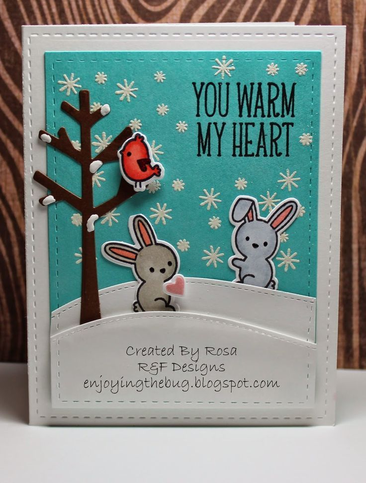 You Warm My Heart Scene card using Lawn Fawn Snow Day Stamp Set and Coordinating Dies