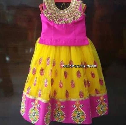 78413f504e9bcf Yellow Pink Heavy Kids Lehenga