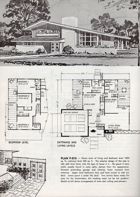 1963 mid century modern house with floorplan when i build dream home
