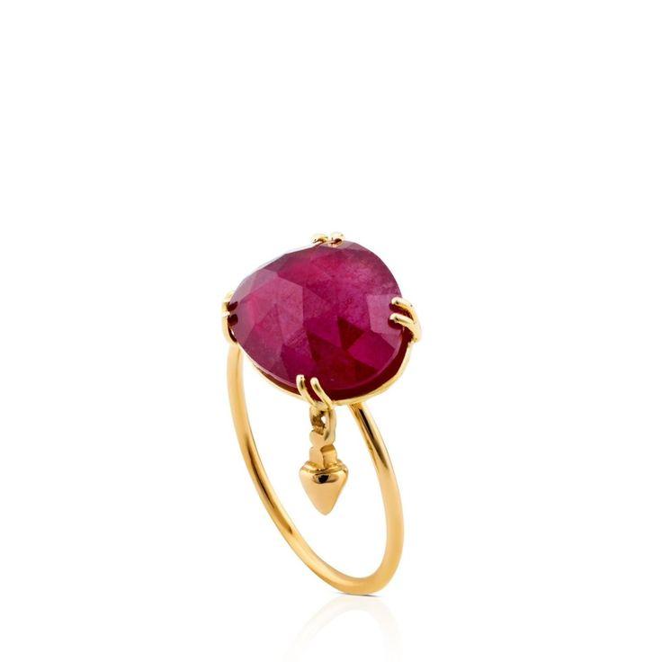 Złoty pierścionek z rubinem Tous Beethoven
