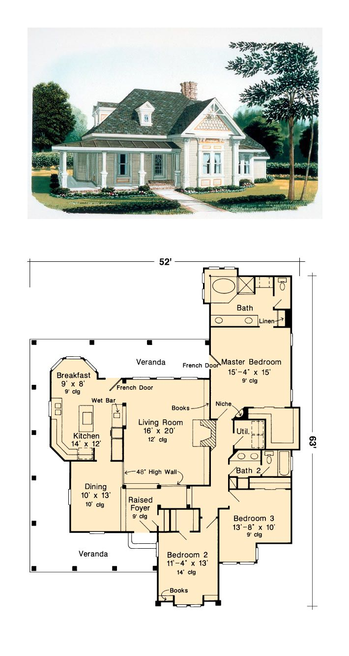 Victorian House Plan 95582 | Total Living Area: 1891 SQ FT, 3 bedrooms and 2 bathrooms. This beautiful Victorian cottage has a unique facade with many surprises, including a wrap around porch with metal roof. #victorianhome