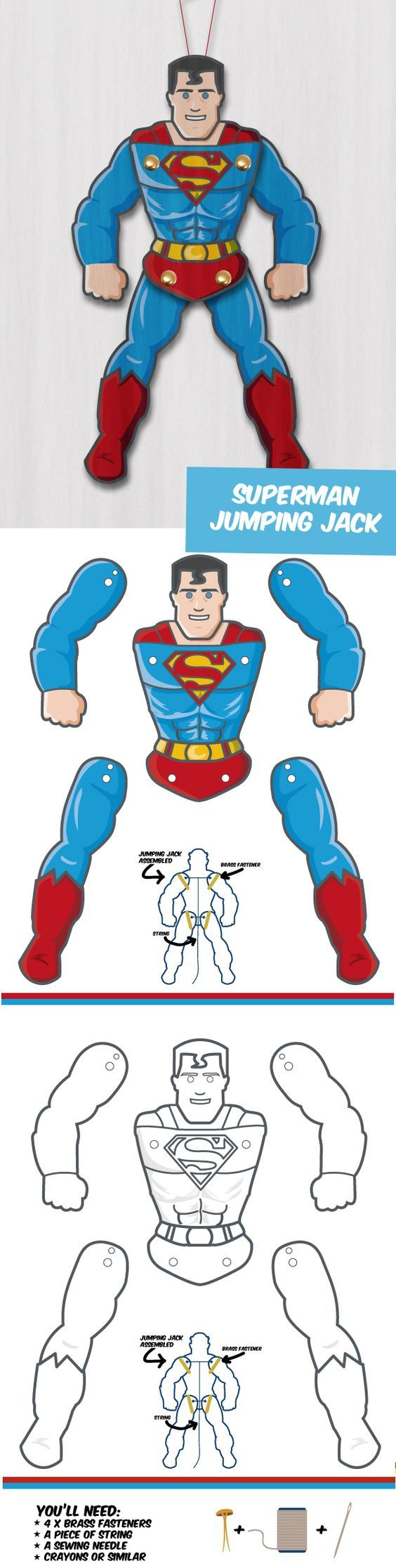 Create your own Superhero Puppet - Superman! Great DIY papercrafts: