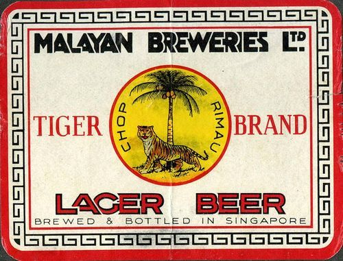 Old Label Poster of Tiger Lager Beers by Malayan Breweries Ltd