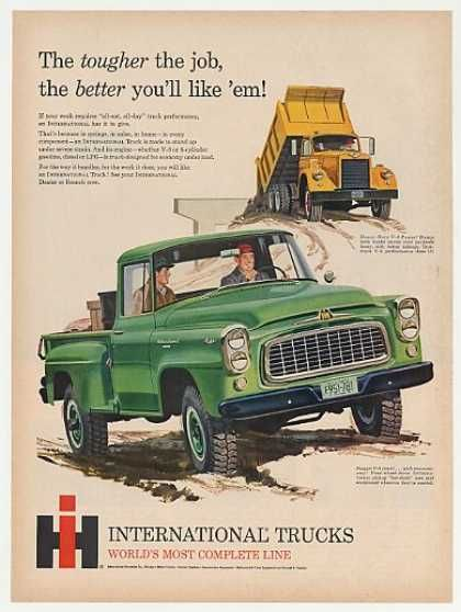 IH International Harvester Pickup Dump Truck (1960) drove one if these on my first job. No frills not even a radio. Hated this truck.