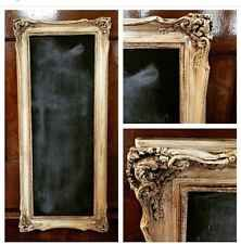 "32""x13.5"" Chalkboard Framed In Ornate Wooden Frame Distressed And Waxed"