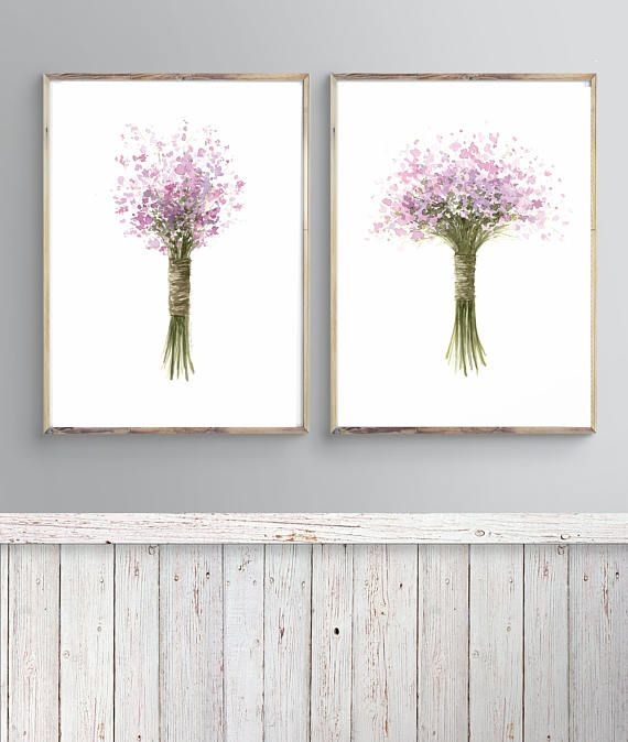 Set Of 2 Lavender Art Flower Lavender Art Decor Lavender Wall Art Lavender Bouquet Bridal Bouquet Botanic Print Set Herb Print Flower Art Art Lavender Walls