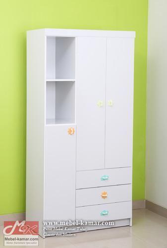 lemari pakaian anak 3 pintu , Model lemari Baju anak minimalis, GROSIR MEBEL ANAK JEPARA
