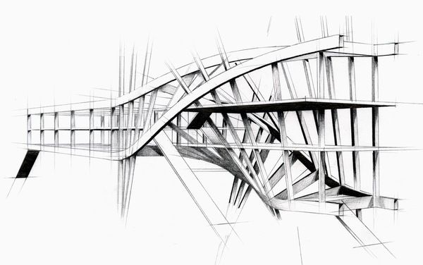 Intertwined steel architecture arch drawing for Cheap architectural drawings