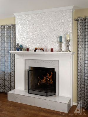 Fireplace Mantel With Painted Wood Surround Framing Marble