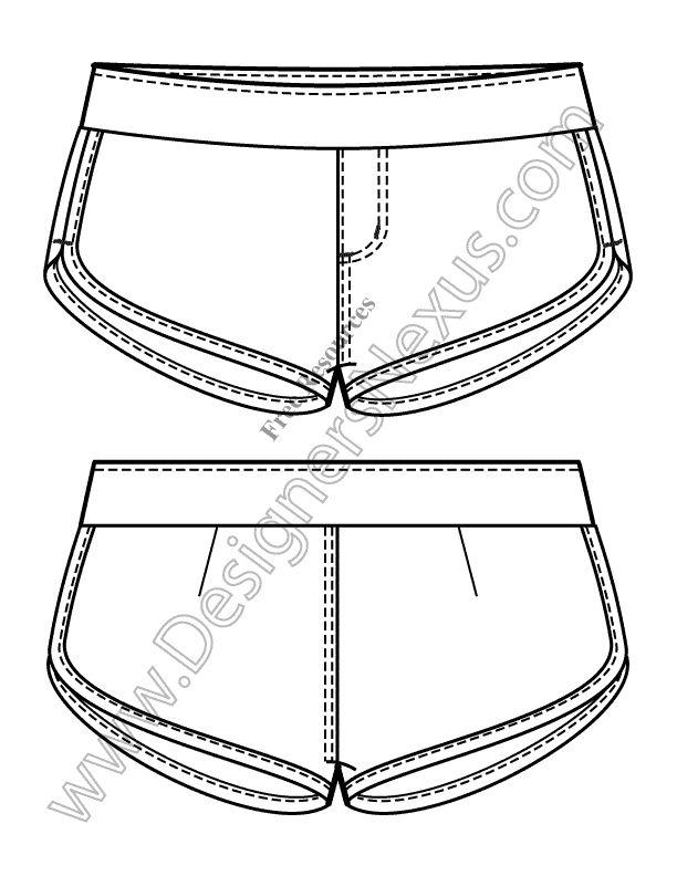 V4 Knit Flats Track Shorts Free Illustrator Fashion Technical Drawing Template…