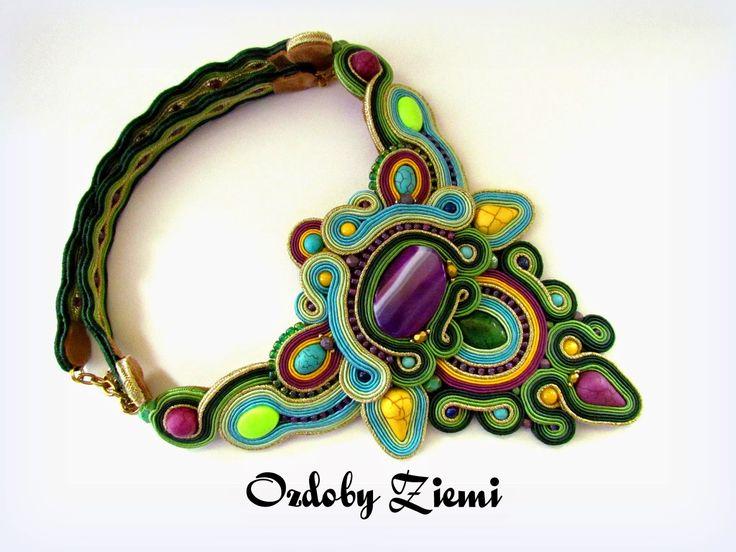 Ozdoby Ziemi: Naszyjnik sutasz Jejari Soutache #necklace #JewelrySoutache #sutasz #soutache #fasion #HandmadeJewelry