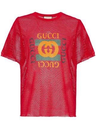 3d37c676 Gucci GG Logo Print T-Shirt | Polo t shirts | Mens cotton t shirts ...