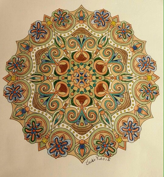 ❤⊰❁⊱ Mandala⊰❁⊱ An Angie Grace design colored with Prisma pencils and pens by Vicki Patterson.