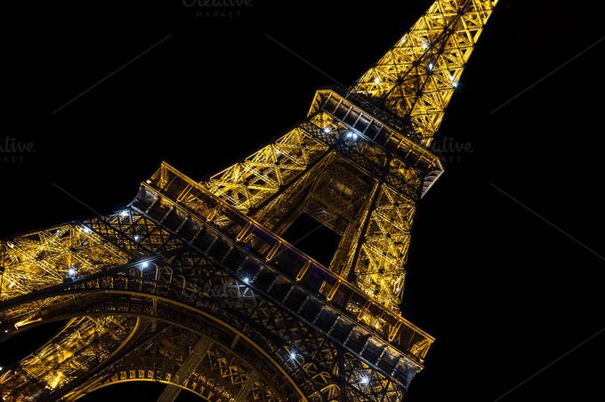 Eiffel Tower Paris Night by LiliGraphie on Creative Market