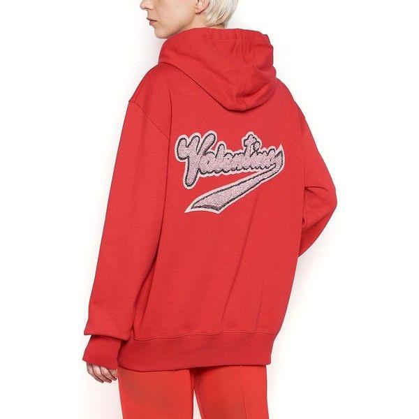 VALENTINO Logo Hoodie featuring polyvore women's fashion clothing tops hoodies hoodie top cotton hoodies sequin top hooded pullover sweatshirt hoodies