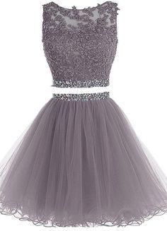 2 Pieces Short Homecoming Dresses Short Beading Pom Dresses