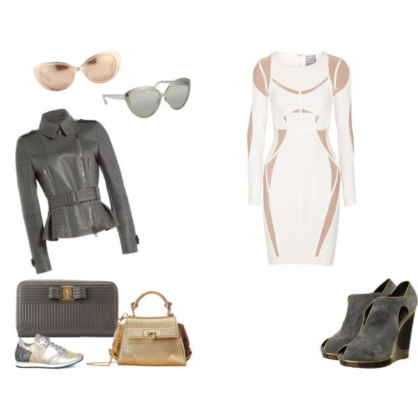 SCI-FI THEME: Beige, Gold, Grey, Off-White, Silver by misshollowpointslug on Polyvore featuring polyvore, fashion, style, Hervé Léger, Burberry, Rick Owens, Rick Owens Lilies, Yves Saint Laurent, Philippe Model, Chanel, Dolce&Gabbana, Prabal Gurung, Marni, Valentino, Jimmy Choo, Christopher Kane, Gold Case, Salvatore Ferragamo, Furla, Kartell, Anya Hindmarch, Braun, Linda Farrow, Jean-Paul Gaultier, Kuboraum and Moooi