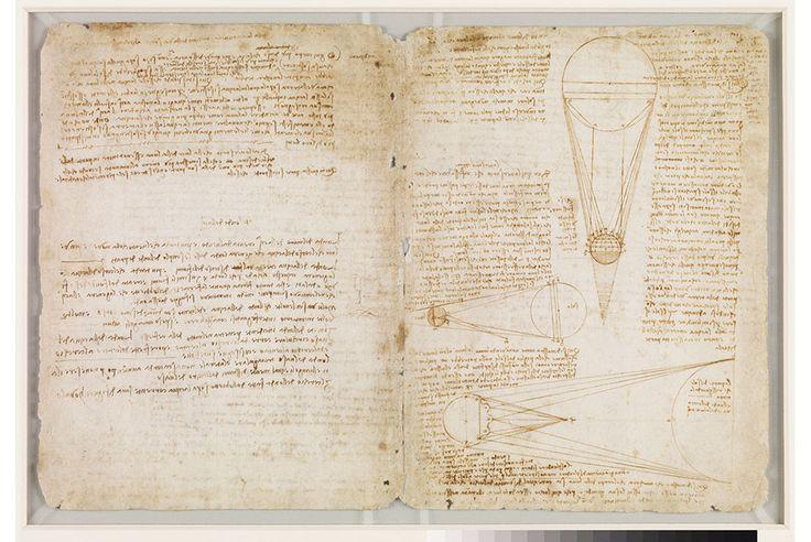 "Leonardo da Vinci (1452 – 1519, Italian), Codex Leicester, c.1506-10. Ink on paper. Each double sheet 11 ¾"" x 17 5/8"""