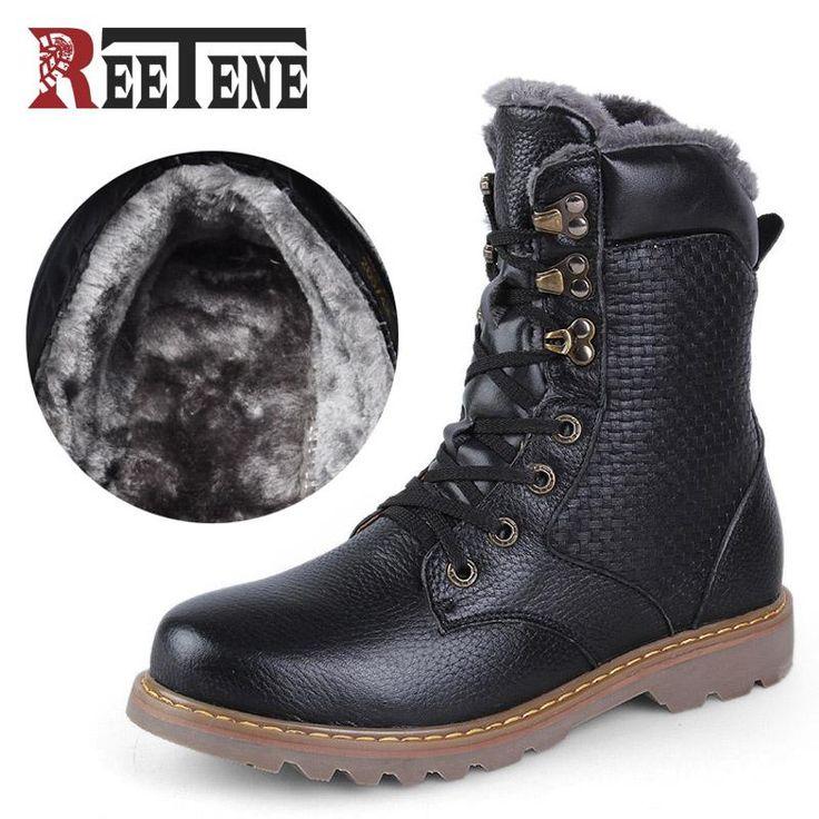 Men Winter Shoes Warmest Genuine Leather Handmade Men Winter Snow Boots