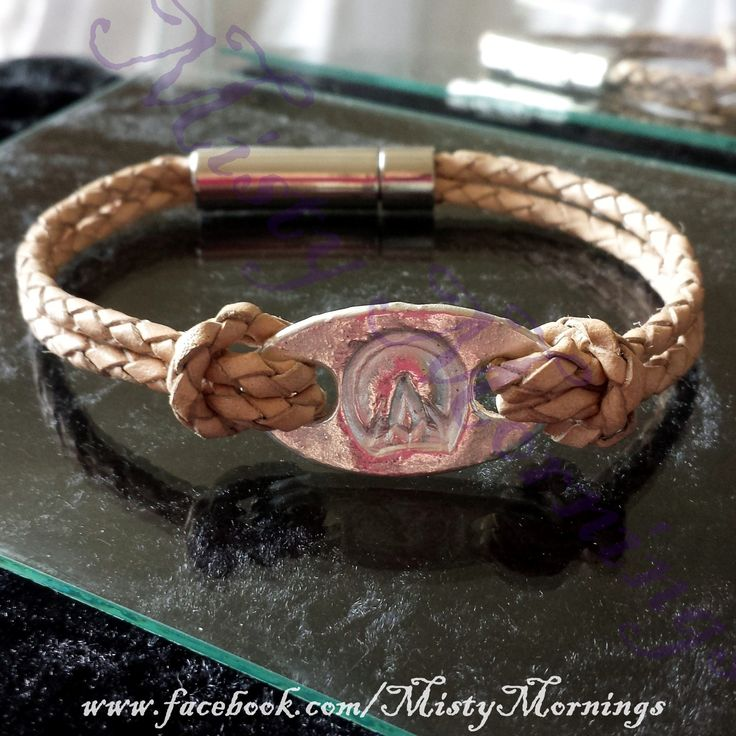 Silver and leather bracelet Barefoot hoof print www.facebook.com/MistyMornings #Horse #Barefoot